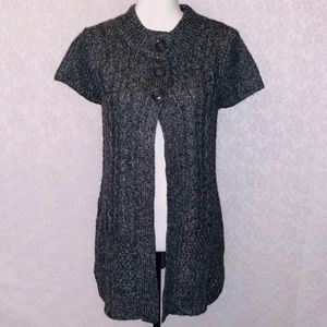 Sonoma Gray Knit Button Top Open Cardigan
